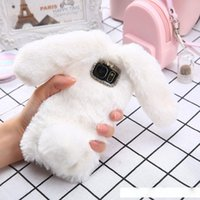 Wholesale cute rabbit case for sale – best Lovely d Rabbit Ears Soft Tpu Luxury Hair Fluffy Diamond Phone Case For Samsung Galaxy J3 J5 J7 Cute Furry Warm Back Cover