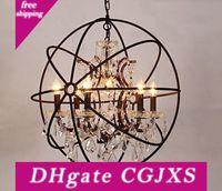 RH Lighting Restoration Hardware Vintage Pendant Lamp Foucault's Iron Orb Chandelier Rustic Iron RH Loft light Globe Style 42cm 52cm 62cm | Wish
