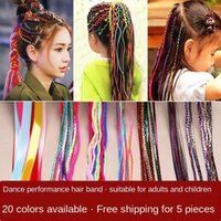Wholesale gold jewe for sale - Group buy tRoV2 Ethnic National children s little girl s hair braid colorful head rope silk Jewelry Silk dirty braid gold style flash ribbon jewe J8VII