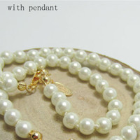 Wholesale pearls for necklaces resale online - Women Pearl Chain Necklace Rhinestone Orbit Pendant Necklace for Gift Party Fashion Jewelry Accessories High Quality