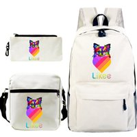 hot teen jungen groihandel-Hot Students LiKee Rucksack 3pcs / set Kinder Knapsack Teens Likee App Video Rucksack Mädchen Jungen Cat Schoolbag Back to School-Geschenk