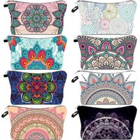Wholesale cosmetic bag designer for sale - Group buy Mandala Cosmetic Bag Bohemia D Print Brides Makeup Bag Polyester Girl Women Makeup Pouch Christmas New Year Gift Bag DHC1874