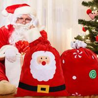 Wholesale velvet brush resale online - Santa Claus Gift Bag Brushed Cloth Candy Present Storage Pouch Xmas Large Santa Toy Bag Gift Wrap Drawstring Velvet Bags OWD752
