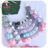 Wholesale mini elephant toy resale online - Name Mini Chain Chew Pacifier Customized Teether Beads Dummy Silicone Toys Nipple Baby Elephant Holder Xcqgh Clips yxlnlf ABC2007