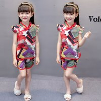 Wholesale zebra print costumes resale online - Excelent New Summer Infant Girls Clothes Sets Antique Costume Floral Print Simple Dark Fragrant Cheongsam Shorts Cool Outfits