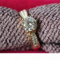 Wholesale synthetic diamond rings for women for sale - Group buy Hot Sale Classical Star bright ct SONA synthetic diamond wedding ring for women Sterling Silver K yellow gold plated Jewelry