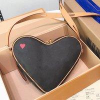 Wholesale heart shaped cross body bags for sale - Group buy multi pochette crossbody bags genunie leather heart shaped shoulder bag old flower poker Cross body bag mini handbags wallet purse clutch
