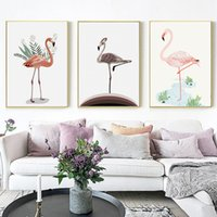 Wholesale giclee art painting resale online - Wall Pictures for Home Decoration Canvas Painting Flamingo Plants Canvas Art Print Painting Poster Giclee Print Wall Decoration