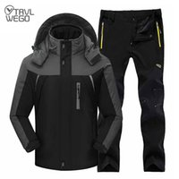 Wholesale red snowboard jackets for sale - Group buy TRVLWEGO Winter Ski Suit Men Windproof Waterproof Snowboard Jacket and Pants Outdoor Super Warm Thick Thermal Fleece Snow Coat