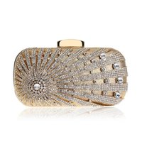 Wholesale one side bags resale online - Designer New Design Flower Crystal Metal Women Evening Clutch One Side Rhinestones Chain Handbags Party Wedding Bridal Purse