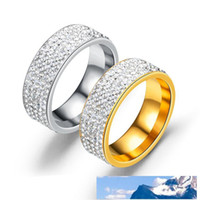 Wholesale mens gold and silver wedding bands resale online - 8mm Titanium Steel Carbide Ring with Rhinestone Mens And Women Wedding Ring Band US Size to Colour Gold Silver