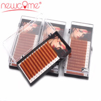 Wholesale color eyelashes extension c curl for sale - Group buy NEWCOME Rows Brown Color Eyelash Extension Brown Long Eye Lashes Curl C D Faux Mink False Eyelashes Professional Makeup