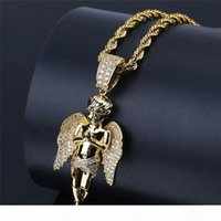 Wholesale angels pendants resale online - 18K Gold Plated Hiphop Angel Pendant Necklaces For Men Luxury Cubic Zirconia Necklace New Fashion Ice Out Hip Hop Jewelry