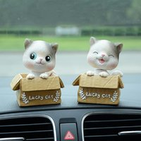 Wholesale car head shaking toy for sale - Group buy Cute Shaking Head Cat Car Ornament Resin Carton Lucky Kitten Doll Lovely Decoration Automotive Internal Dashboard Toys Kids Gift
