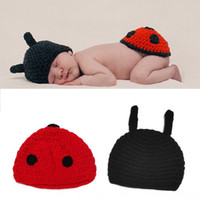 Wholesale ladybug baby clothes for sale - Group buy Ladybug knitting photography props Prop costume clothing Hundred Days baby shooting set beetle handmade wool woven clothing