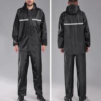 Wholesale rain pant men for sale - Group buy 2Pcs Men Windproof Reflective Hooded Raincoat Pants Outdoor Cycling Rain Outfit Raincoat Pant Unisex Raincoats for Hiking