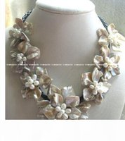 Wholesale freshwater pearl necklace resale online - freshwater pearl sea shell flower quot necklace