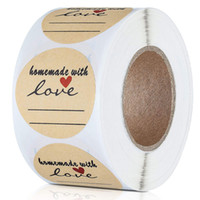 Wholesale gift bag adhesive for sale - Group buy 500Pcs inch Roll Kraft Homemade with Love Round Baking Adhesive Stickers Box Bag Labels Decor Gifts