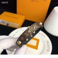 Wholesale printed bracelets resale online - Fashion Women Genuine Leather Bracelets With Gold V Shape Designer For Women Flower Print Pulsera Luxury Bracelet Jewelry With Box
