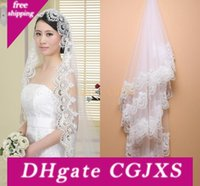 Wholesale church laced veils for sale - Group buy 2020 Cheap In Stock White Ivory Cathedral Wedding Veils Lace Edge One Tier Church Bride Accessories Cheap Long Bridal Veils Cpa554