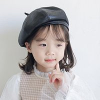 Wholesale beret boy children for sale - Group buy Girls PU Leather Beret Hat Baby Boys Fall Winter Bonnet Artist Cap Children French Octagonal Painter Hats Boina Barets