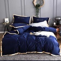 Wholesale hotel quilt cover for sale - Group buy Home Textiles Adult Luxury Bedding Set Bed Washed Silk Duvet Cover King Queen Size Quilt Cover Brief Hotel Bedclothes Comforter