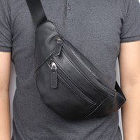 Wholesale travel waist bags for men for sale - Group buy Chest Bag for Men Genuine Leather Casual Travel Fashion Business Waist Pack Bags Man