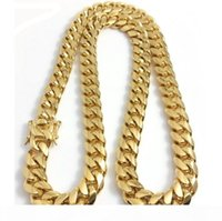 Wholesale 24k gold necklace chain men for sale - Group buy Stainless Steel Jewelry K k Gold Filled Plated High Polished Cuban Link Necklace For Men Punk Curb Chain Dragon Beard Clasp10mm MM