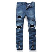 Wholesale rose big size resale online - Fashion zipper hip hop denim jeans men large size Brand knee hole mid rise classic big hole brand casual jeans dropship