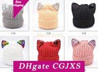 Wholesale crochet kids cat hat resale online - Caps Cat S Ear Toddler Kids Chenille Hats Girl Boy Winter Warm Sequins Crochet Knit Hat Beanie Children S Caps M920