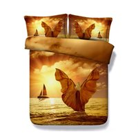 Wholesale boats covers resale online - 3D Sunset Ocean Boat Girly Print Duvet Cover with Pillowcase Bedding Set Microfiber Comforter Cover Zipper Closure NO Quilt