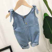 Wholesale korean clothing for babies for sale - Group buy K5W6f Children s clothing jumpsuit sling jumpsuit for babies Korean style old denim suspender pants baby bowknot cute one piece pants trendy