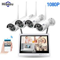 Wholesale video lcd cctv for sale - Group buy Hiseeu CH P Wireless NVR Kits LCD display HD outdoor security MP IP Camera video surveillance wifi cctv camera system