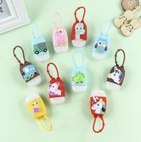Wholesale pendent sets for sale - Group buy Cartoon ML Hand Sanitizer Bottle Holder Sets Perfume Bottle Silicone Protective Cover with Bottle Keychain Bag Hanging Pendent E92107