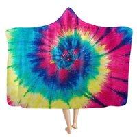 Wholesale rainbow warmers for sale - Group buy 150 cm Hooded Blanket Rainbow Sherpa Blanket Throw Tie Dye Blankets Sofa Warm Cape Cloak Children Christmas Gift Designs M2875