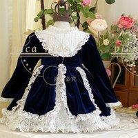 Wholesale kids princess velvet clothes for sale - Group buy Spain Design girl clothing Dress Kids Round Collar With Lace Flower Velvet Exquisite Long Sleeve Princess dresses