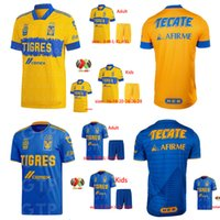 Wholesale kids mexico soccer jersey resale online - men kids UANL Tigres GIGNAC Soccer Jerseys kits VARGAS Camiseta Maillot Home away Third Pizarro Mexico Football Shirts