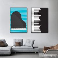 Wholesale black blue abstract art for sale - Group buy Abstract Black and White Poster Print Nordic Piano Canvas Art Modern Picture Tableaux for Living Room Music Studio Blue Wall Art