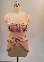 Wholesale pink suspenders belts resale online - Sexy Women Handmade Punk Gothic PU Leather Bra Top Heavy Duty Row Body Waist Belt Waist Cincher Suspender Bondage Belts