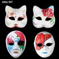 Wholesale diy cosplay resale online - DIY Paper Masks Masquerade Halloween Masks Party Cosplay Cartoon Maske Carnival Ball Face Women Carnaval Masque Prop OWF832