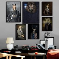 Wholesale vintage cat painting resale online - Nordic Rabbit Cat Animal Vintage Big Canvas Painting Art Zebra Lion Elephant Posters And Prints Wall Picture For Living Room ePzc