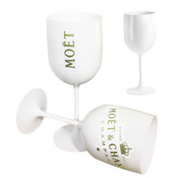 Wholesale celebration glass for sale - Group buy White Plastic Acrylic Goblet Moet Champagne Glass Acrylic Plastic Cups Celebration Party Drinkware Drinks Moet Wine Glass Cup LJ200821