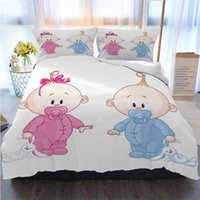 Wholesale girls twin beds resale online - 3D Designer Bedding Sets Cheerful Boy And Girl Children With Bunny Pacifiers Twins Pale Blue Duvet Cover Designer Bed Comforters Sets