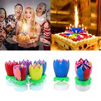 Wholesale festive birthday cakes for sale - Group buy Birthday Candle Double Lotus Electronic Music Candle Birthday Party Decoration Supplies Candles Lotus Flower Color Cake DHB1558