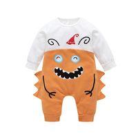 Wholesale onesies kids clothing resale online - Halloween Newborn Rompers Infant Cartoon Splicing Jumpsuit Kids Long Sleeve Onesies Baby Boys Festival Theme Clothes M2665