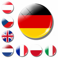 Wholesale glass refrigerator magnets for sale - Group buy Europe Flag Fridge Magnet Germany French Ireland Netherland Belgium Spain Britain Glass Magnetic Refrigerator Stickers Decor C0927