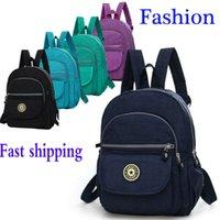Wholesale small bookbags resale online - Women School Bag Fashion Shoulder Rucksack Ladies Bookbags Nylon Satchel Travel Nylon Small Backpack Hand bag Shoulder Gift