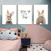 Wholesale owl pictures resale online - Flower Bunny Rabbit Wall Art Print Owl Fox Bear Woodland Animals Canvas Painting Nursery Poster Wall Pictures Baby Room Decor