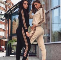 Wholesale pant suit prices for sale - Group buy FD Hot Low Price Promotion New Classic Fashion Autumn Winter Female Letter Printing Sports Walking Running Hooded Sweater Pants Suit