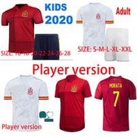 Wholesale iniesta soccer jersey for sale - Group buy 2020 Spain Euro cup INIESTA RAMOS Player version Mens home red Asensio ISCO camisetas de futbol football shirts soccer jerseys